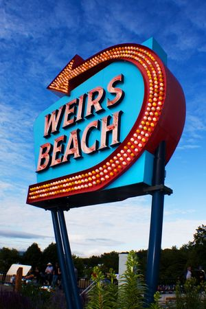 Weirs Beach, NH sign on a bright day. Stock Photo