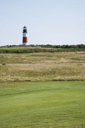 Sankaty Head Lighthouse Nantucket from the golf course Stock Photo