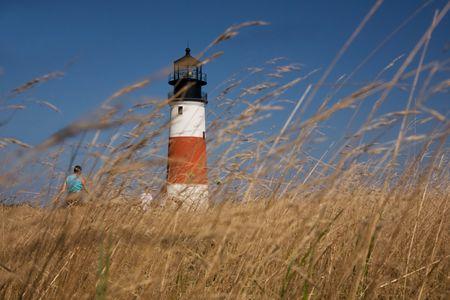 Visit to Sankaty Head Lighthouse Nantucket through beach grass