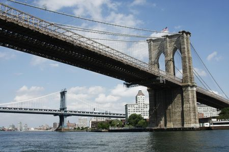 Brooklyn and Manhattan Bridges from the East River New York City