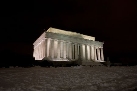 Lincoln Memorial on the National Mall in Washington DC at night during winter Stock Photo