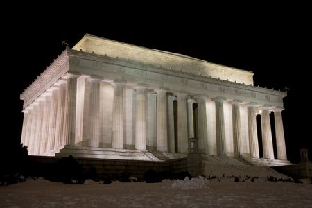 Lincoln Memorial on the National Mall in Washington DC at night in Winter.