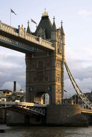 Tower Bridge Tower At Sunset Stock Photo