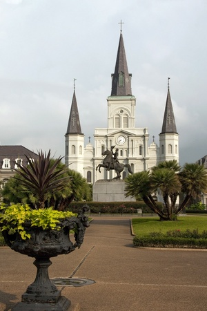 Saint Louis Cathedral and Jackson Square New Orleans Stock Photo
