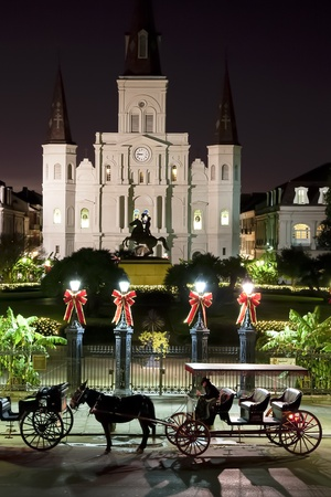 new orleans: Saint Louis Cathedral Night