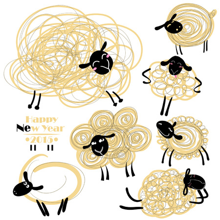 year of sheep: New Year Sheep Illustration