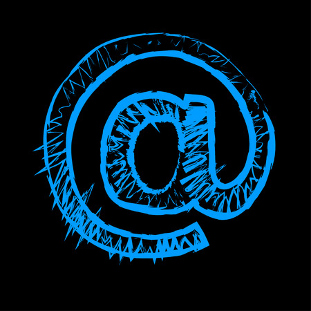arobase: illustration of  blue at sign icon on black background