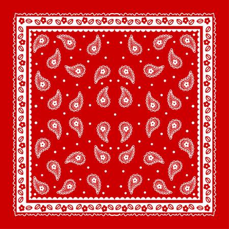 Red Paisley Bandana simple pattern. Illustration