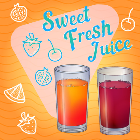 shots alcohol: Glass full of red liquid, juice or wine Illustration