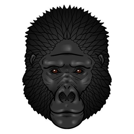 isolation: Gorilla head gradients. isolation on a white background Illustration