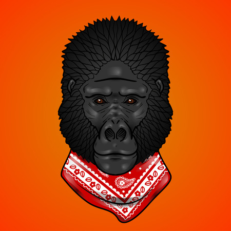 isolation: Gorilla head gradients. isolation on a white background Illustration