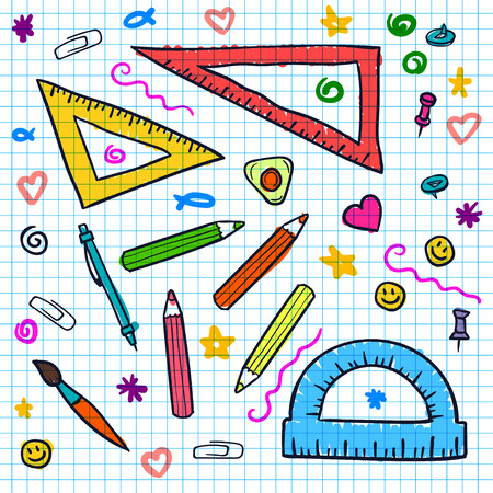 doddle: Seamless sketch doddle elements on notebook.