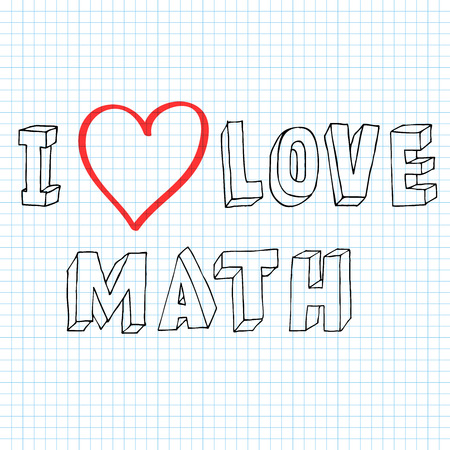 inscription I love math doodle on notebook sheet Illustration