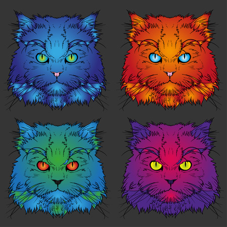 persian cat: Set of head of the Persian four cat graphics Illustration