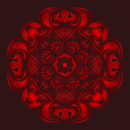 paganism: Mandala. ethnic round Indian Ornament Pattern on a red background