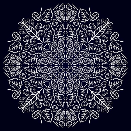 mandala flower: Mandala. ethnic round Indian Ornament Pattern on a black background Illustration