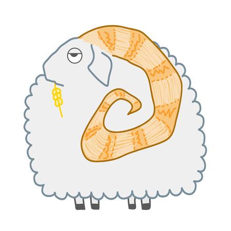 Cartoon round ram isolated on white background
