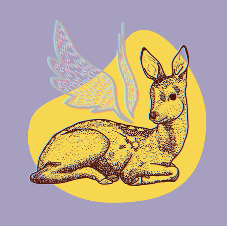 hoofed mammal: Deer with wings isolated on a purple background