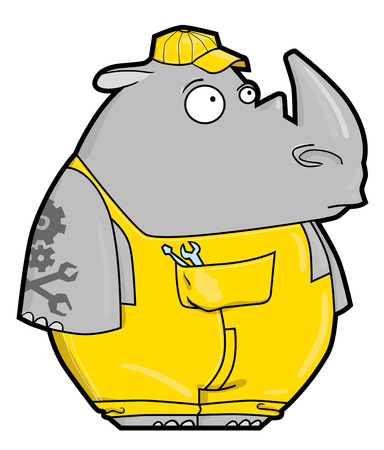 knickers: Funny cartoon rhino locksmith. Rhinoceros in yellow workwear, cap and with Instrument.