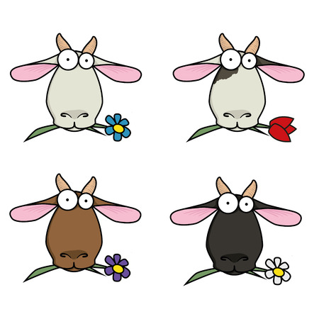 chew: slip-art funny cartoon face different goats that chew flowers. Illustration
