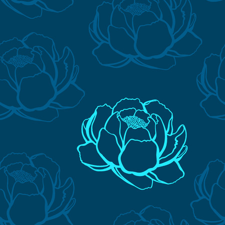 grass flower: turquoise and blue outline roses on a blue background