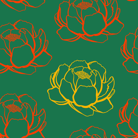 stamen: yellow and red outline rose on a green background, seamless pattern
