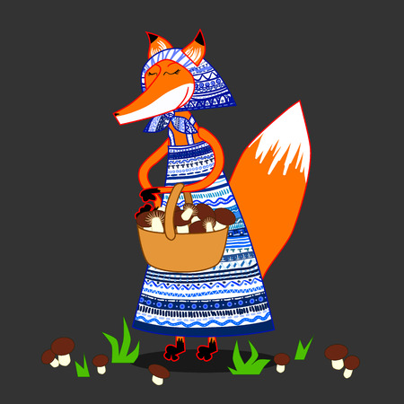 cartoon fox dress with patterns, searches and collects mushrooms in a basket 矢量图像