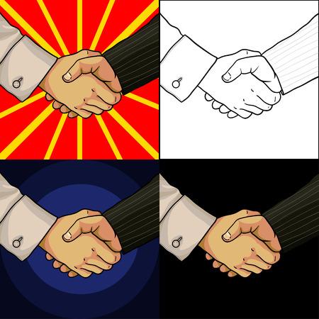 two men: Set of business handshake cartoon hands of two men