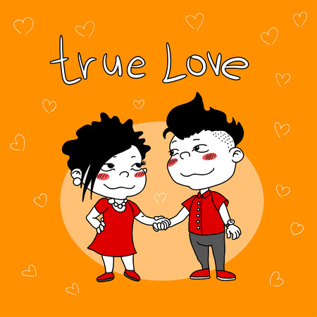 accents: card with cartoon couple in love with red accents on an orange background.