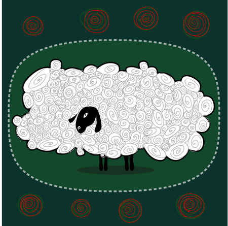 warmth: funny cartoon fluffy white sheep on a green background