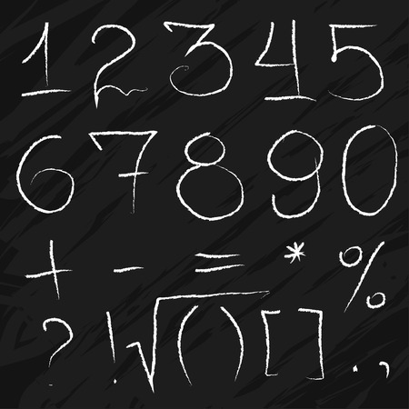 chalky: Doodle Math Chalky Numbers on blackboard