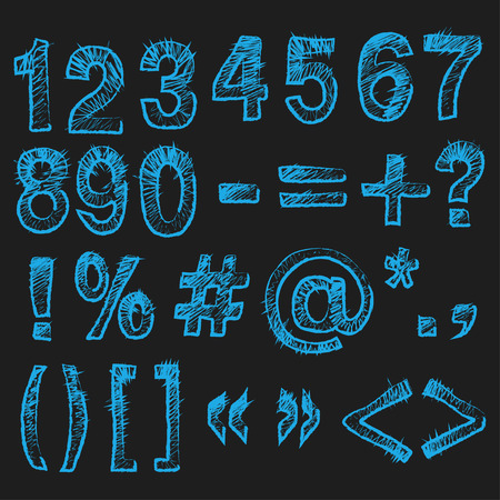 assign: a set of blue numbers and symbol on a black background