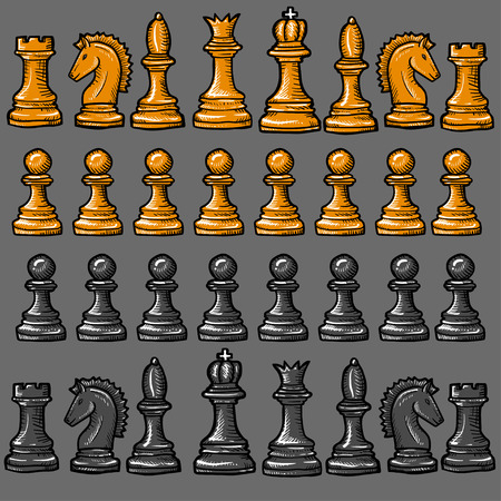 ajedrez: piezas de ajedrez aislados sobre un fondo gris
