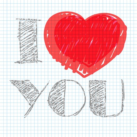 inscription notebook: inscription I love you on the notebook sheet in the box