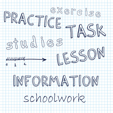 schoolwork: doodle math, lesson, schoolwork, written by hand on a sheet of notebook Stock Photo