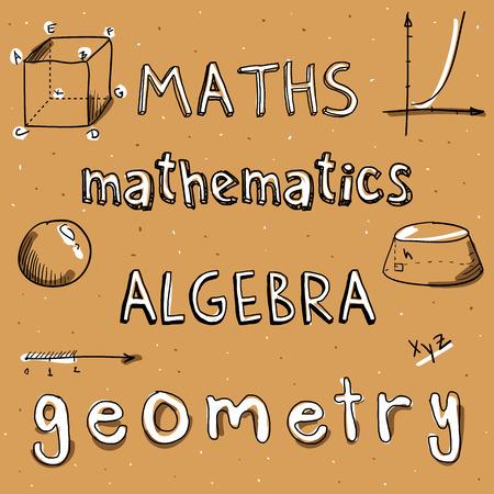 doodle word math algebra, mathematics, geometry drawing by hand Stock Photo
