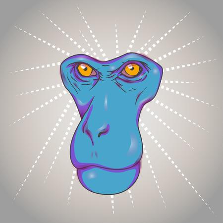 primacy: animal monkey blue face and yellow eyes without borders Illustration