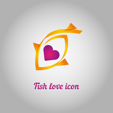 golden fish: golden fish with heart inside on a gray background