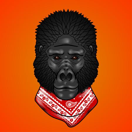 isolation: Gorilla head with gradients. isolation on a orange background