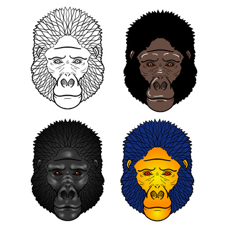 isolation: Set of four Gorilla head with gradients. isolation on a white background