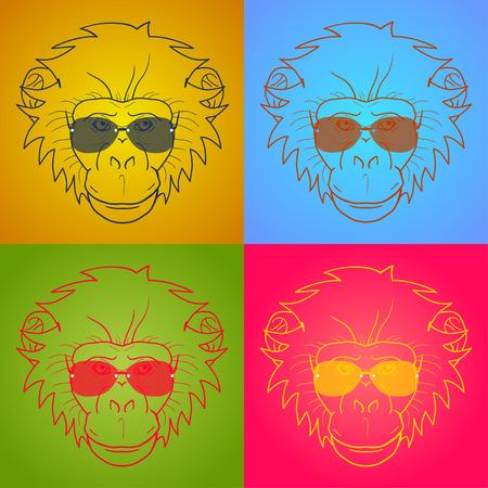 gazing: funny cartoon  monkey with glasses. Illustration