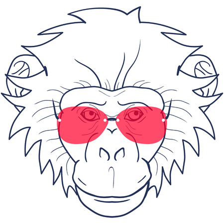 gazing: funny cartoon  monkey with glasses on a white background Illustration