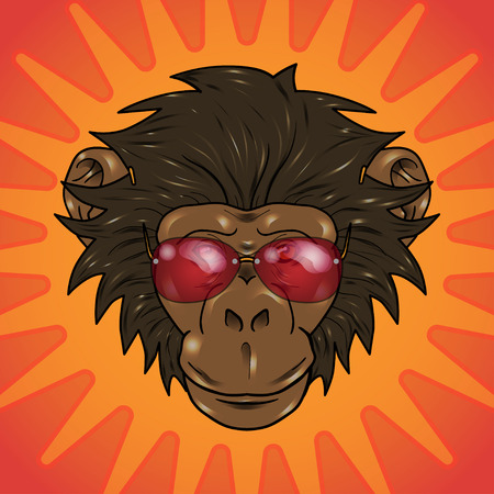 gazing: funny cartoon  monkey with glasses on a orange background Illustration