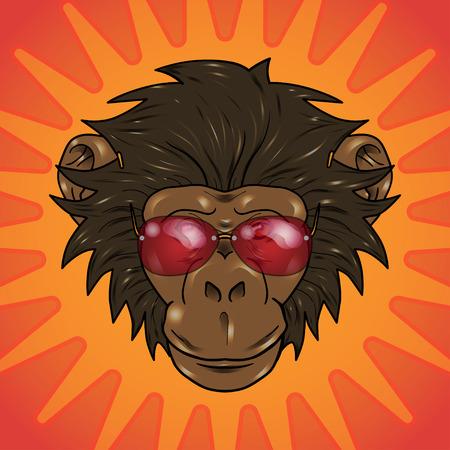 gazing: funny cartoon  monkey with glasses on a orange background Illustration