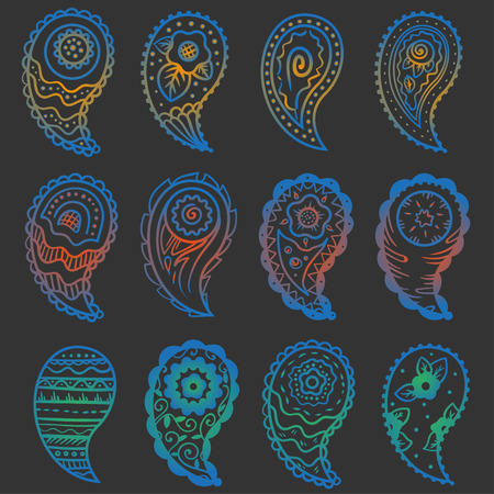 nine cold colors paisley ornament elements on a gray background Illustration