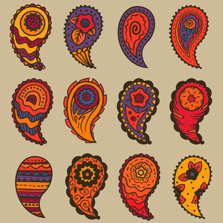 warm colors: nueve colores cálidos Paisley Elementos ornamento sobre un fondo de color beige