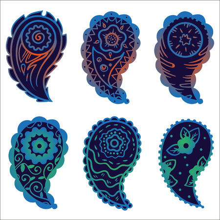 cashmere: six cold colors paisley ornament elements on a gray background
