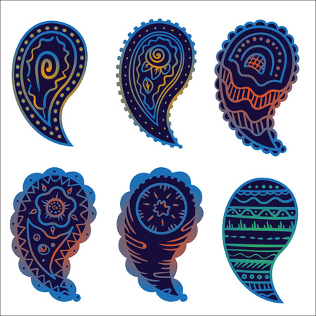 six cold colors paisley ornament elements on a gray background