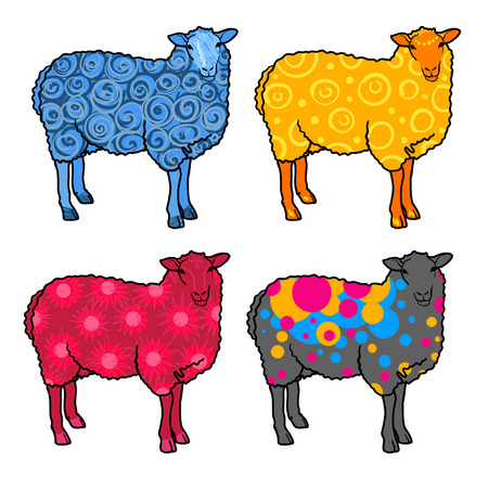herd: Set of four abstract sheep: blue, yellow, red, gray on a white background