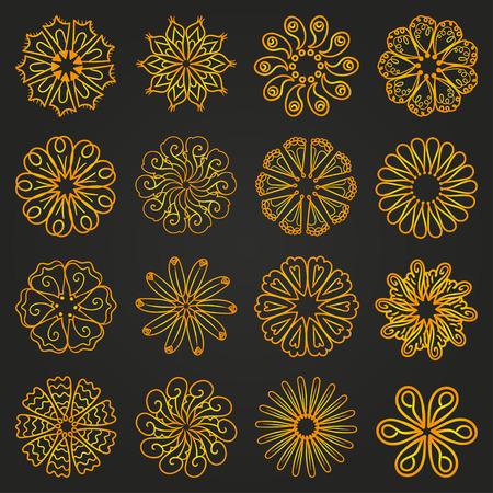 abstract symbolism: Set of yellow cartoon flowers. mandala ornament